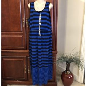 XL blue and black striped maxi dress